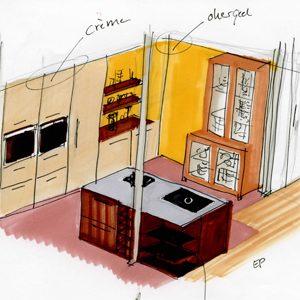 interieurschets keukenSterinterieur